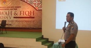 AKBP Dulfi Muis SH, SIK saat memberi materi tentang Kamtibmas pada Diklat Dakwah & Fiqh DPW LDII Jatim