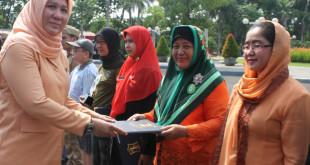 Hj. Endah Retnowati menerima penghargaan sebagai Juara 1 Pelaksana Terbaik Kelurahan Siaga Aktif (Kelsi) tingkat Kota Surabaya dan tingkat Provinsi Jawa Timur