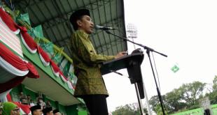 Presiden RI Joko Widodo hadiri Harlah ke-70 Muslimat NU, di Stadion Gajayana Kota Malang, Sabtu (26/3/2016).