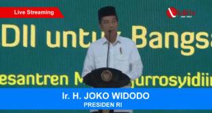 Presiden Republik Indonesia Joko Widodo membuka Rakernas LDII 2018 di Pondok Pesantren Minhaajurrosyidiin, Jakarta.