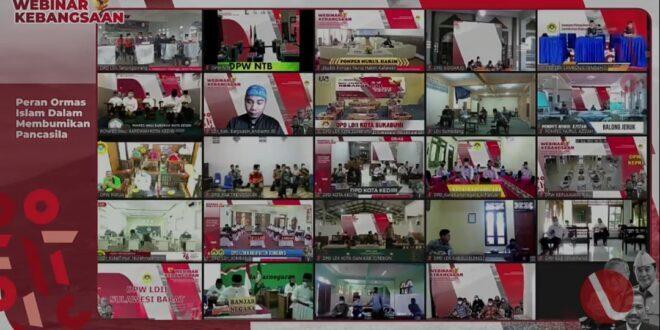 Webinar Kebangsaan DPP LDII bertajuk Peran Ormas Islam dalam Membumikan Pancasila, di Kantor DPP LDII, Jakarta, Minggu (15/8).