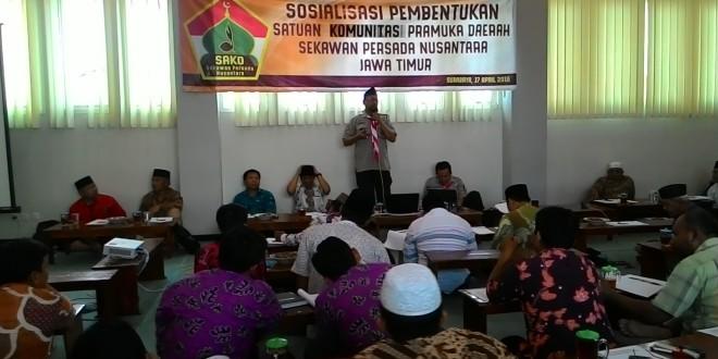 Sosialisasi pembentukan Satuan Komunitas Daerah Sekawan Persada (Sakoda SPN) Jawa Timur di Aula lantai 3 Gedung DPW LDII Jawa Timur, Minggu (17/4/2016).