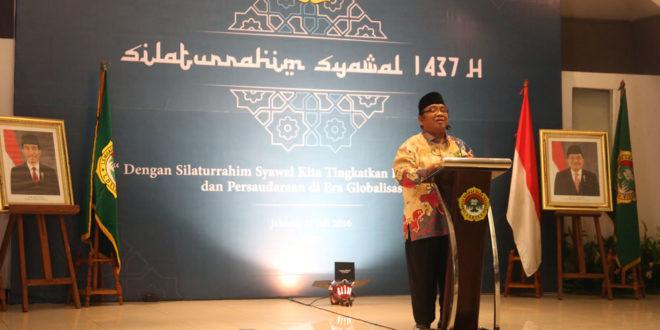 Ketua Umum DPP LDII Abdullah Syam memberikan sambutan di Silaturahim Syawal 1437 H di Gedung DPP LDII.