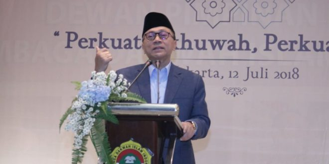 Ketua MPR-RI Zulkifli Hasan saat menghadiri silaturahim syawal di Kantor DPP LDII, Jakarta, Kamis (12/7).