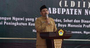 Bupati Ngawi Ony Anwar Harsono membuka Musyawarah Daerah (Musda) Ke-9 Lembaga Dakwah Islam Indonesia (LDII) Kabupaten Ngawi di Hall Notosuman, Selasa (255).