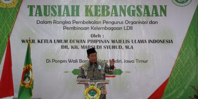 Kediri (13/6). Wakil Ketua Umum Dewan Pimpinan Majelis Ulama Indonesia (DP MUI) Dr KH Marsudi Syuhud, MA memberikan tausiah kebangsaan secara daring dari Pondok Pesantren Wali Barokah Kediri.